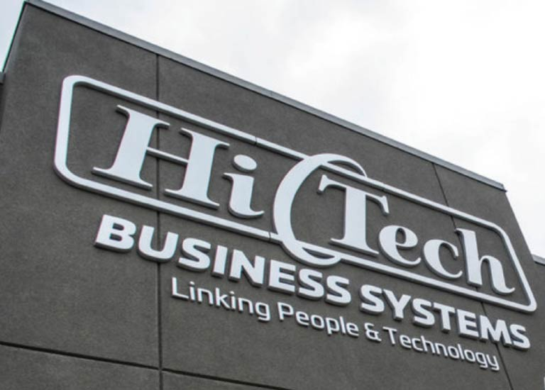 Hi-Tech Business Systems Office Front Sign in Grande Prairie, Alberta