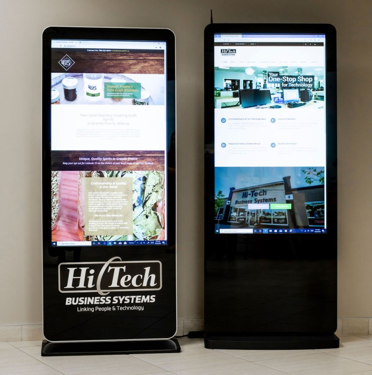 Two Hi-Tech Retail Standup Displays at Hi-Tech Sales Showroom in Grande Prairie