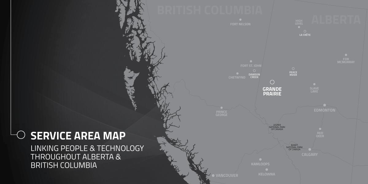 Service area map showing offices in Grande Prairie, Dawson Creek, Peace River, and La Crete